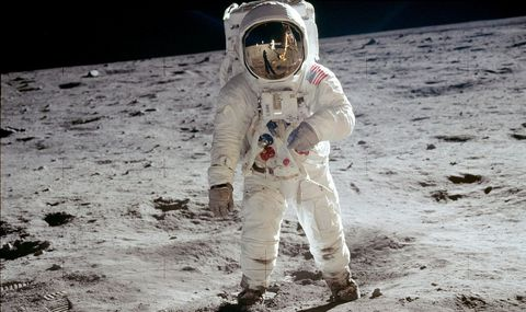 Buzz Aldrin on the moon, July 20, 1969